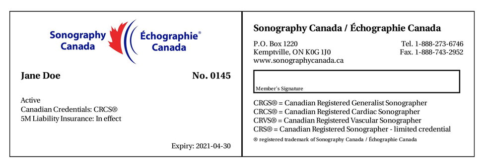Sonography Canada Active membership card sample