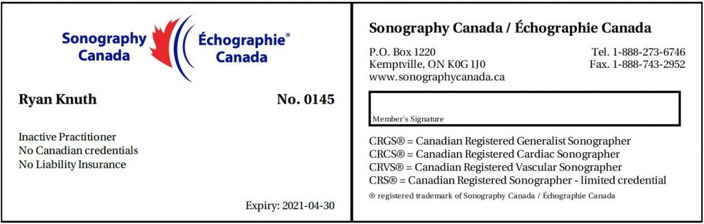 Sonography canada intactive practitioner card