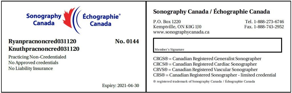 Sonography canada parcticing non credentialed no approved credentials card